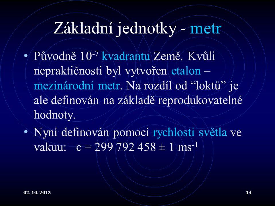 """02. 10. 201314 Základní jednotky - metr Původně 10 -7 kvadrantu Země. Kvůli nepraktičnosti byl vytvořen etalon – mezinárodní metr. Na rozdíl od """"loktů"""