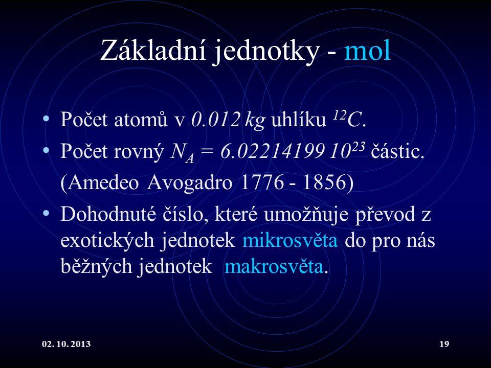 02. 10. 201319 Základní jednotky - mol Počet atomů v 0.012 kg uhlíku 12 C. Počet rovný N A = 6.02214199 10 23 částic. (Amedeo Avogadro 1776 - 1856) Do