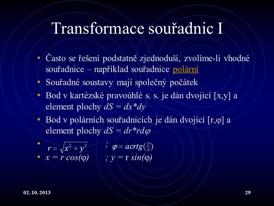 02. 10. 201329 Transformace souřadnic I Často se řešení podstatně zjednoduší, zvolíme-li vhodné souřadnice – například souřadnice polárnípolární Souřa