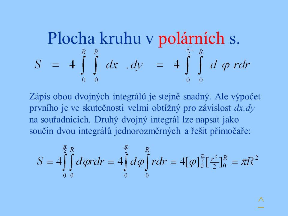 Plocha kruhu v polárních s. ^ Zápis obou dvojných integrálů je stejně snadný. Ale výpočet prvního je ve skutečnosti velmi obtížný pro závislost dx.dy