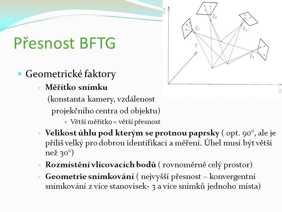 Přesnost BFTG Geometrické faktory Měřítko snímku (konstanta kamery, vzdálenost projekčního centra od objektu) Větší měřítko = větší přesnost Velikost