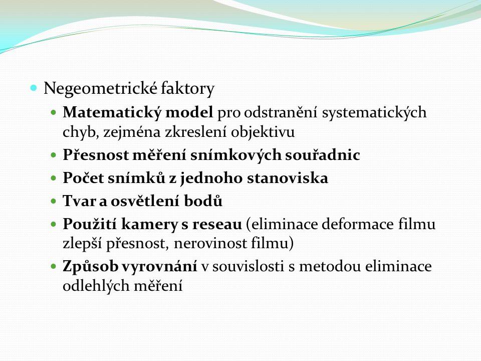 Negeometrické faktory Matematický model pro odstranění systematických chyb, zejména zkreslení objektivu Přesnost měření snímkových souřadnic Počet sní