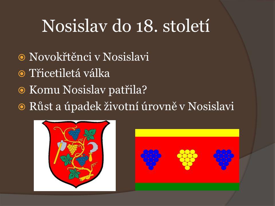 Nosislav do 18. století  Novokřtěnci v Nosislavi  Třicetiletá válka  Komu Nosislav patřila?  Růst a úpadek životní úrovně v Nosislavi