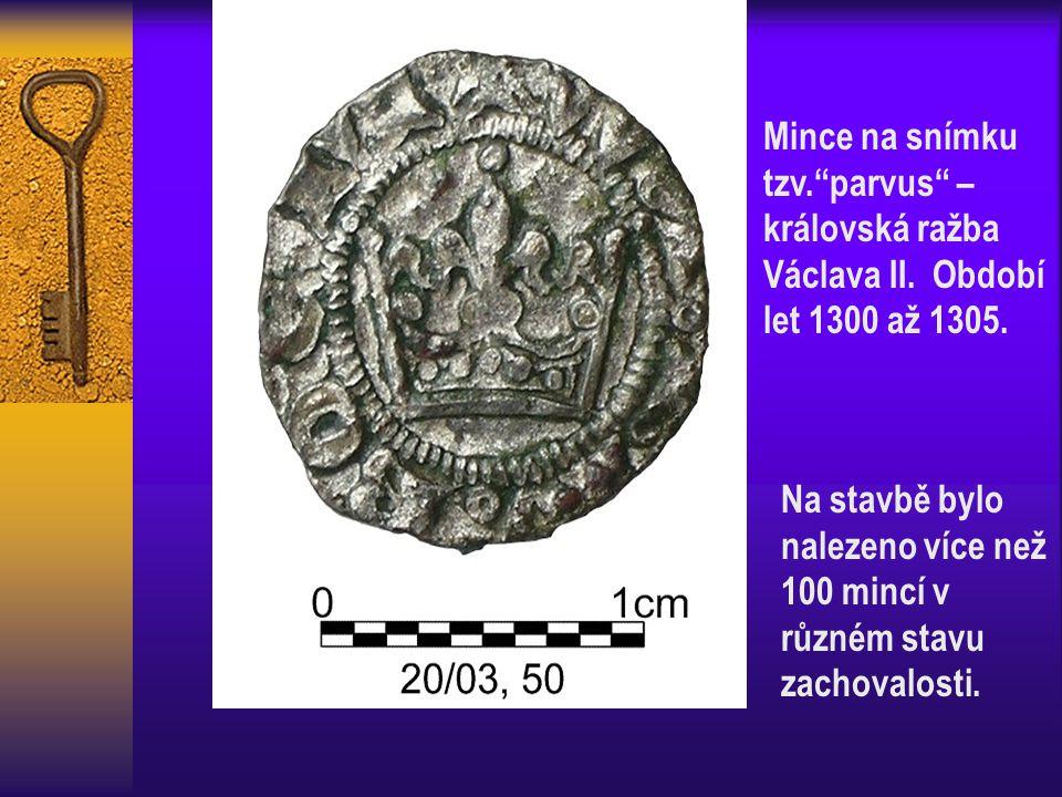 """Mince na snímku tzv.""""parvus"""" – královská ražba Václava II. Období let 1300 až 1305. Na stavbě bylo nalezeno více než 100 mincí v různém stavu zachoval"""