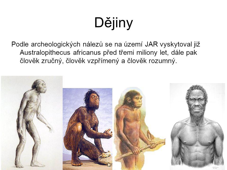 Dějiny Podle archeologických nálezů se na území JAR vyskytoval již Australopithecus africanus před třemi miliony let, dále pak člověk zručný, člověk v