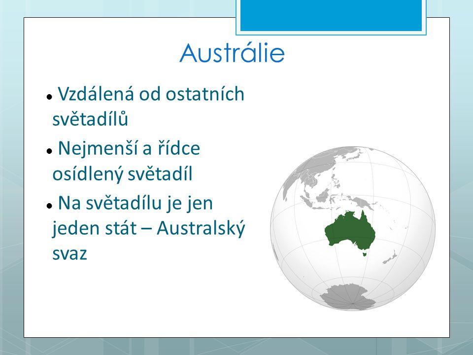Austrálie Vzdálená od ostatních světadílů Nejmenší a řídce osídlený světadíl Na světadílu je jen jeden stát – Australský svaz