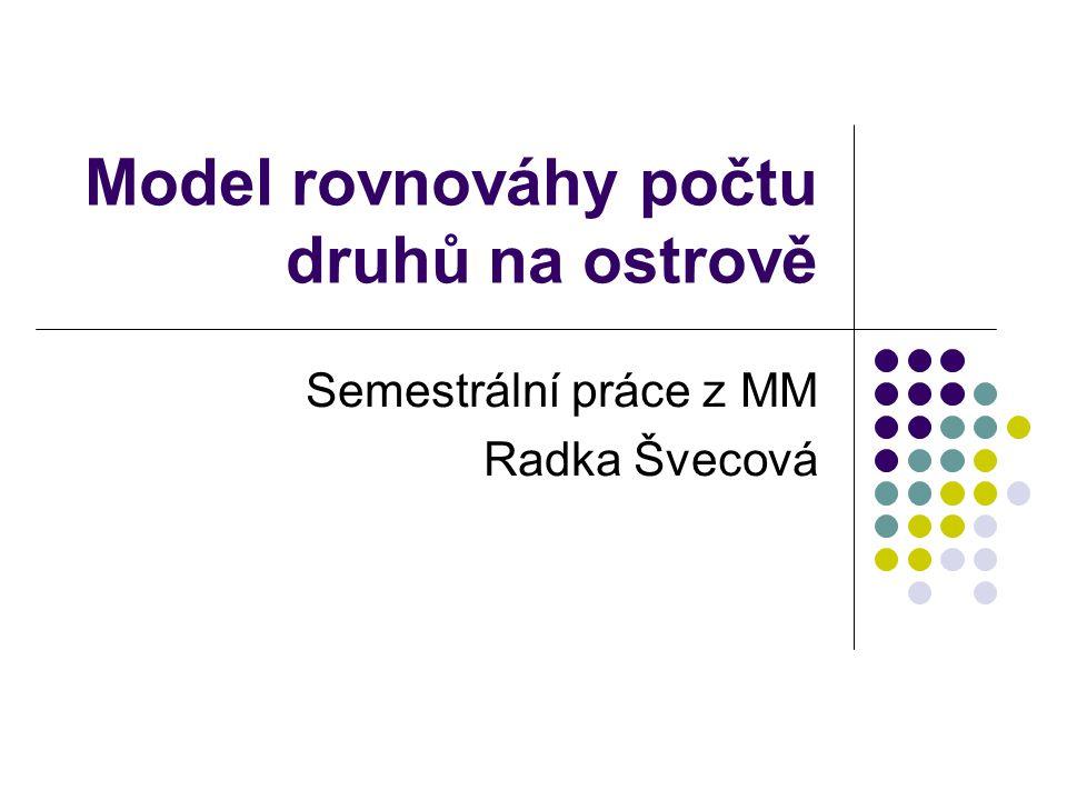 Model rovnováhy počtu druhů na ostrově Semestrální práce z MM Radka Švecová