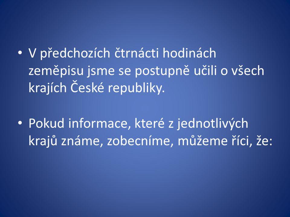 V předchozích čtrnácti hodinách zeměpisu jsme se postupně učili o všech krajích České republiky.