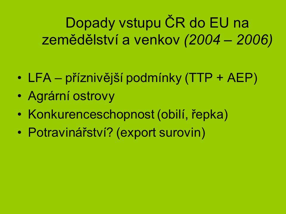 Dopady vstupu ČR do EU na zemědělství a venkov (2004 – 2006) LFA – příznivější podmínky (TTP + AEP) Agrární ostrovy Konkurenceschopnost (obilí, řepka) Potravinářství.