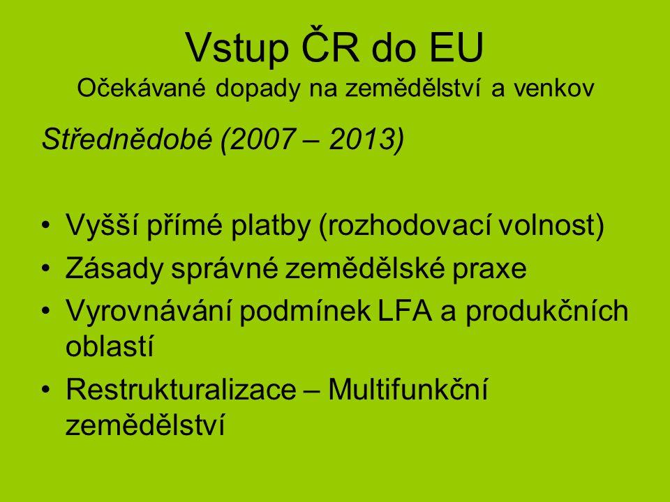 Vstup ČR do EU Očekávané dopady na zemědělství a venkov Střednědobé (2007 – 2013) Vyšší přímé platby (rozhodovací volnost) Zásady správné zemědělské praxe Vyrovnávání podmínek LFA a produkčních oblastí Restrukturalizace – Multifunkční zemědělství