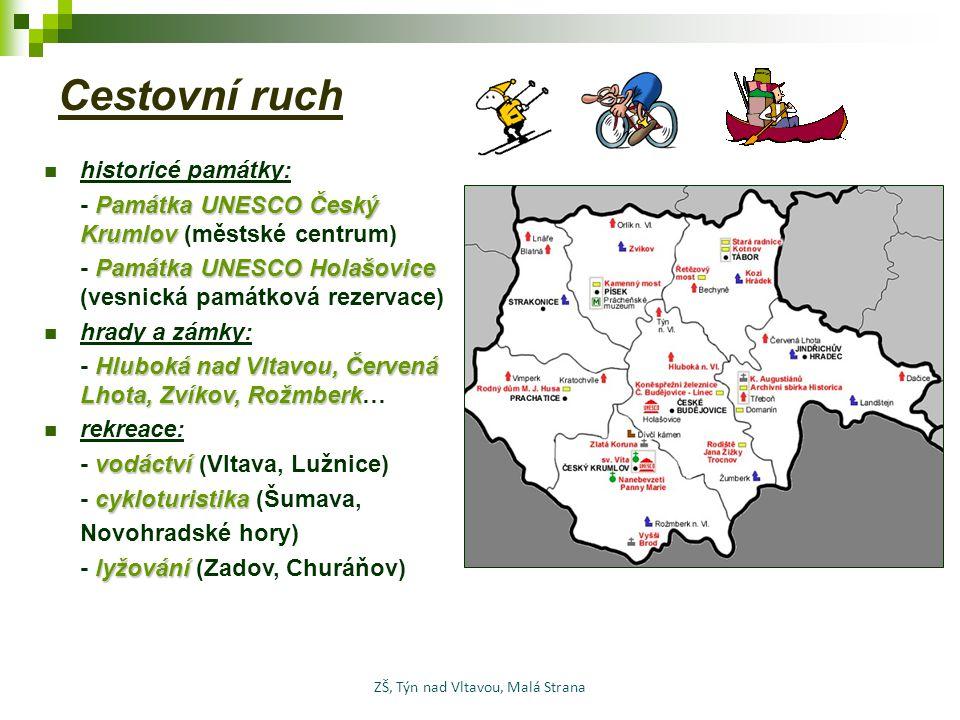 Cestovní ruch historicé památky: Památka UNESCO Český Krumlov - Památka UNESCO Český Krumlov (městské centrum) Památka UNESCO Holašovice - Památka UNE