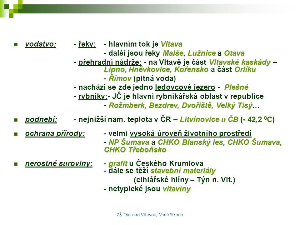 Vltava vodstvo: - řeky:- hlavním tok je Vltava MalšeLužniceOtava - další jsou řeky Malše, Lužnice a Otava Vltavské kaskády Lipno, Hněvkovice, Kořensko