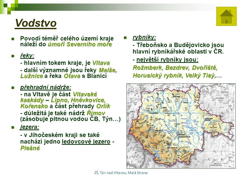 Vodstvo úmoří Severního moře Povodí téměř celého území kraje náleží do úmoří Severního moře řeky: Vltava - hlavním tokem kraje, je Vltava Malše Lužnic