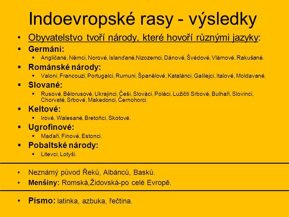 Indoevropské rasy - výsledky Obyvatelstvo tvoří národy, které hovoří různými jazyky:  Germáni:  Angličané, Němci, Norové, Islanďané,Nizozemci, Dánov