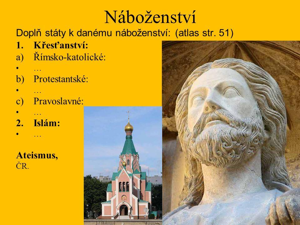 Náboženství Doplň státy k danému náboženství: (atlas str. 51) 1.Křesťanství: a)Římsko-katolické: … b)Protestantské: … c)Pravoslavné: … 2.Islám: … Atei