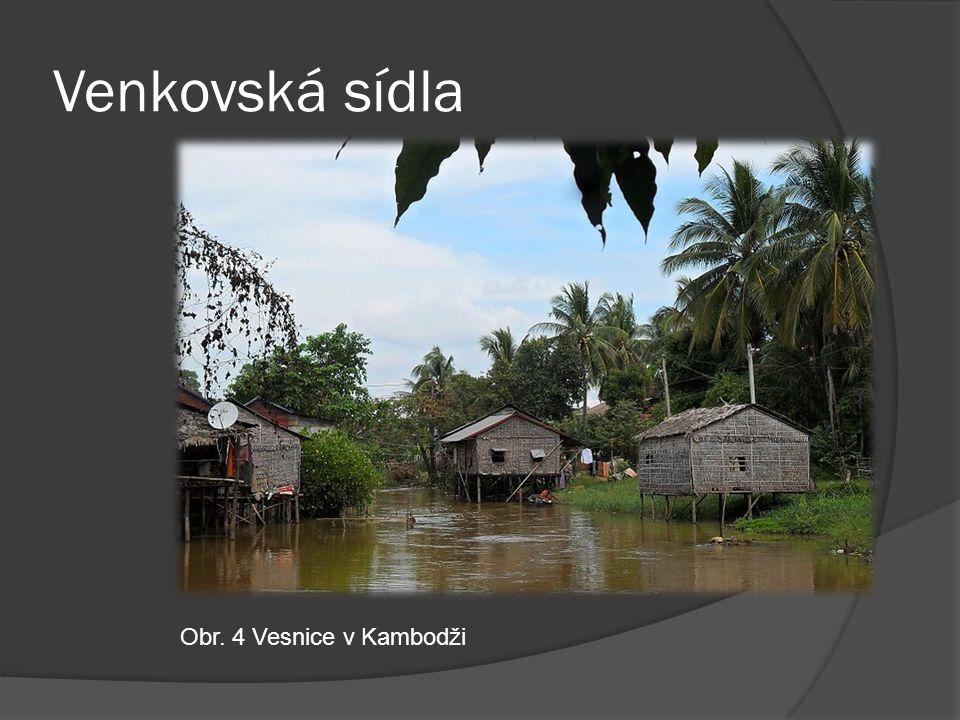 Venkovská sídla Obr. 4 Vesnice v Kambodži