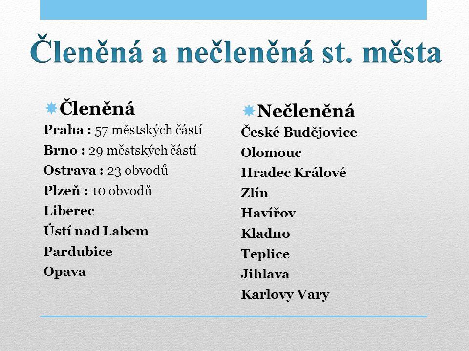  Členěná Praha : 57 městských částí Brno : 29 městských částí Ostrava : 23 obvodů Plzeň : 10 obvodů Liberec Ústí nad Labem Pardubice Opava  Nečleněn