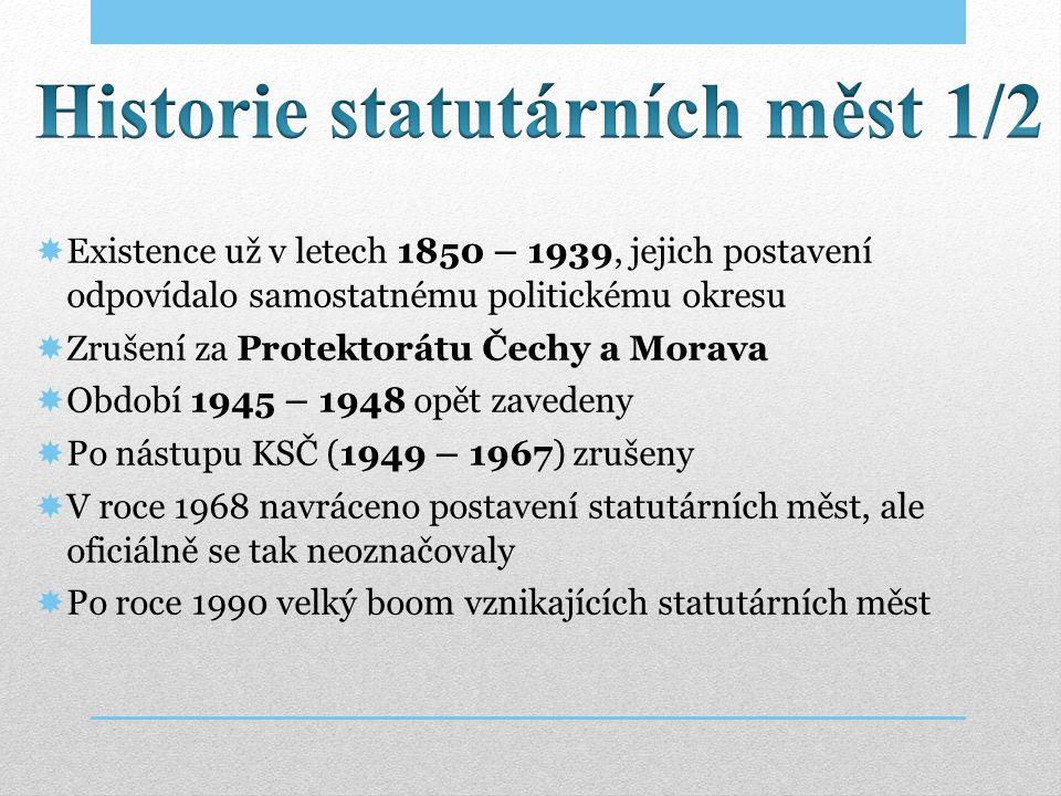  Existence už v letech 1850 – 1939, jejich postavení odpovídalo samostatnému politickému okresu  Zrušení za Protektorátu Čechy a Morava  Období 194