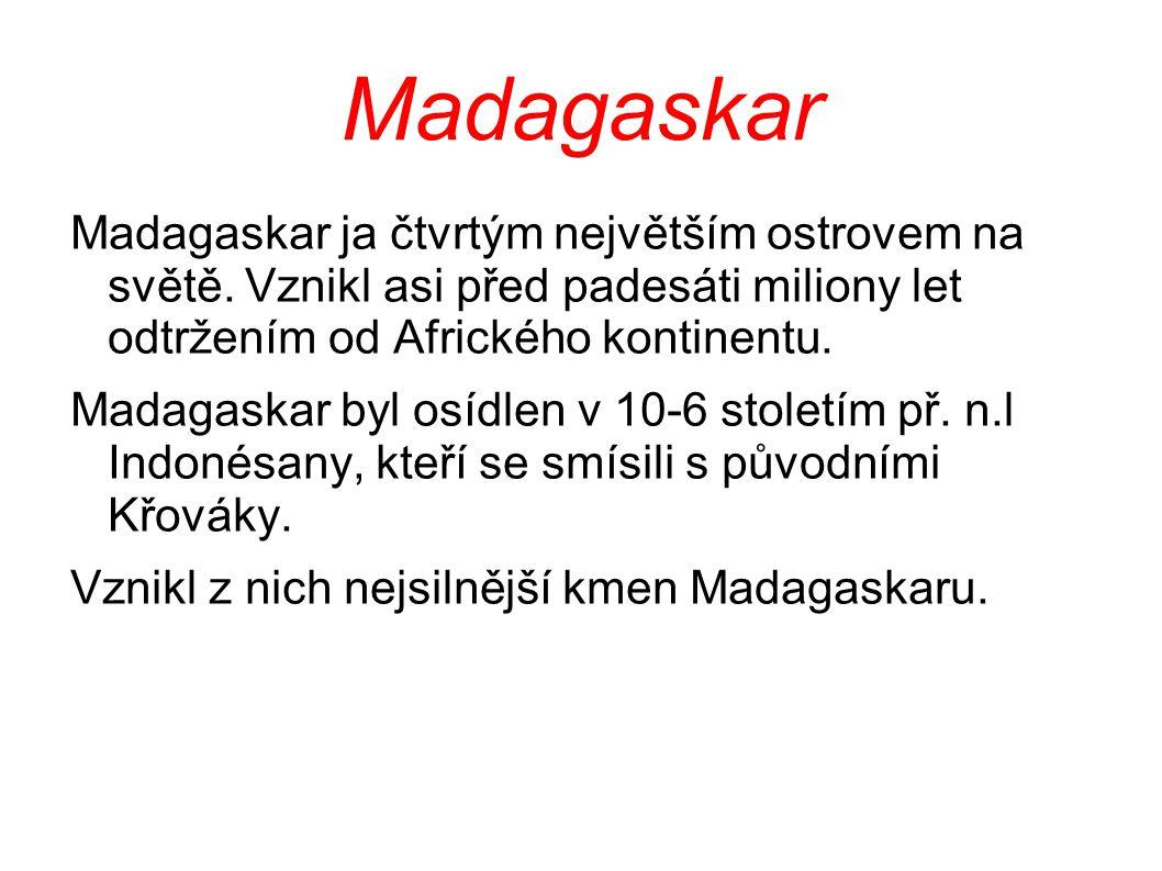 Madagaskar Madagaskar ja čtvrtým největším ostrovem na světě. Vznikl asi před padesáti miliony let odtržením od Afrického kontinentu. Madagaskar byl o