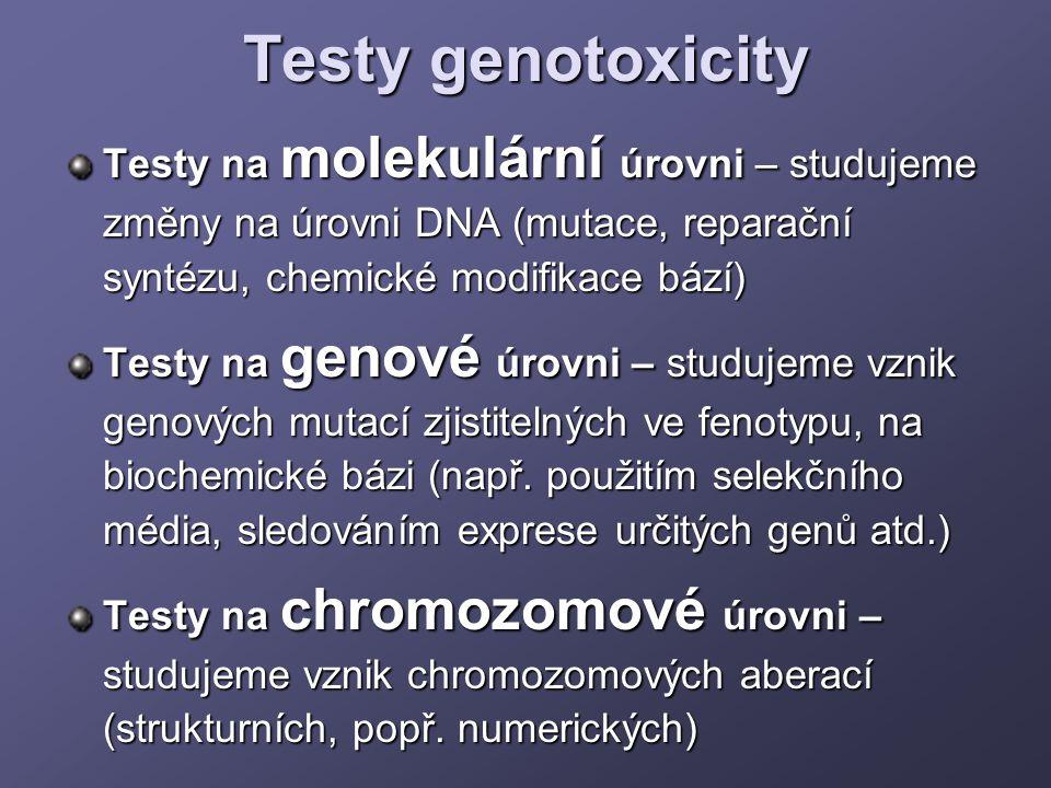 Testy genotoxicity Testy na molekulární úrovni – studujeme změny na úrovni DNA (mutace, reparační syntézu, chemické modifikace bází) Testy na genové ú