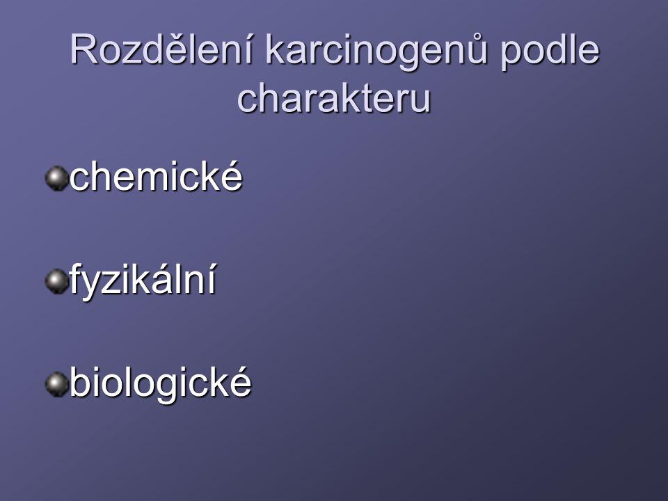 Rozdělení karcinogenů podle charakteru chemickéfyzikálníbiologické