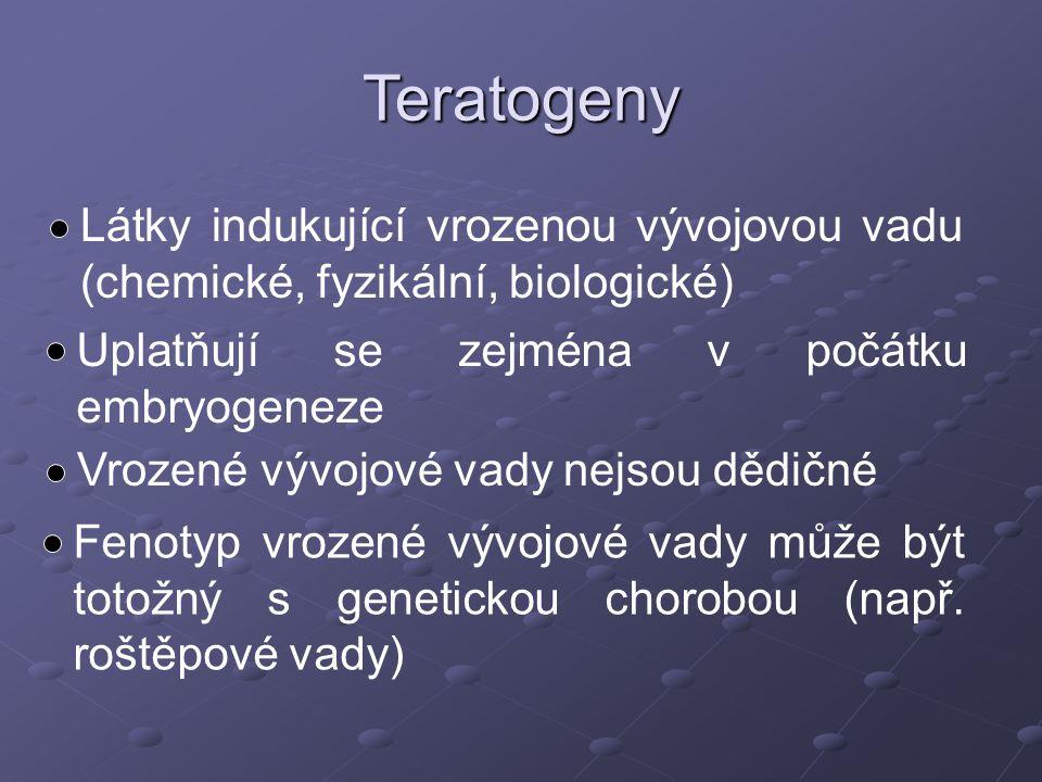 Látky indukující vrozenou vývojovou vadu (chemické, fyzikální, biologické) Uplatňují se zejména v počátku embryogeneze Vrozené vývojové vady nejsou dě