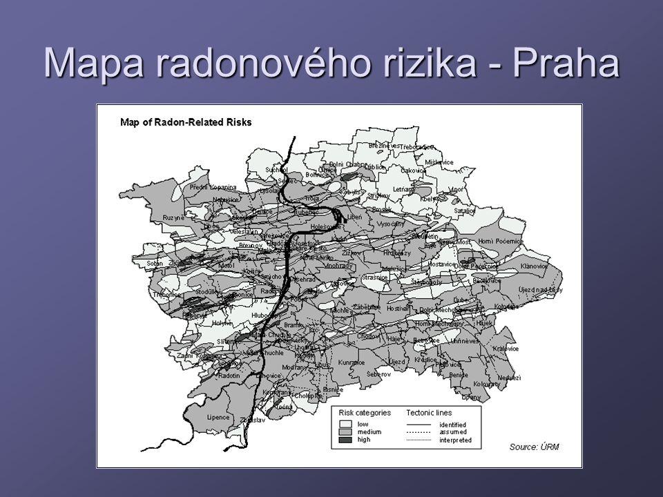 Mapa radonového rizika - Praha