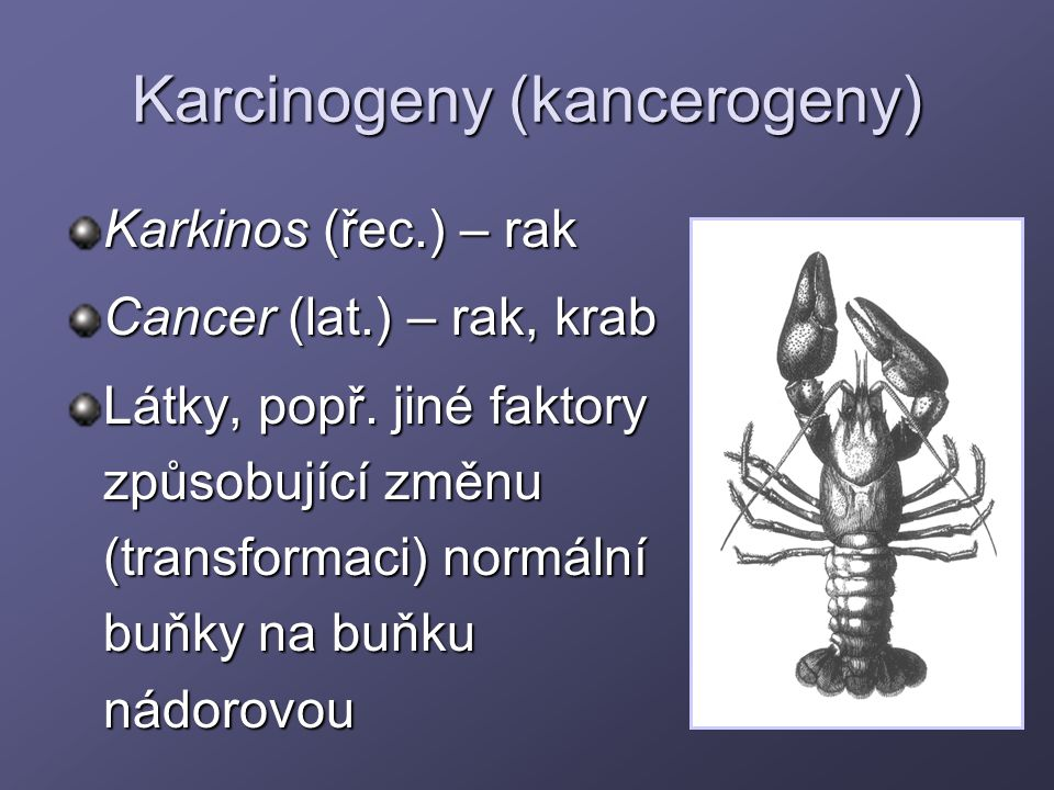 Karcinogeny (kancerogeny) Karkinos (řec.) – rak Cancer (lat.) – rak, krab Látky, popř. jiné faktory způsobující změnu (transformaci) normální buňky na