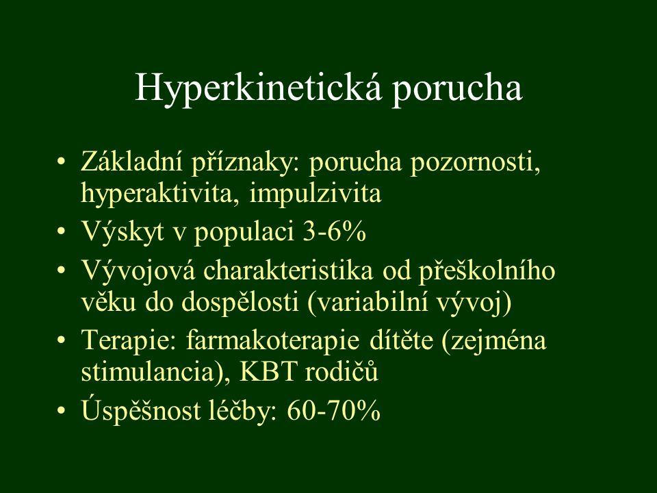 Hyperkinetická porucha Základní příznaky: porucha pozornosti, hyperaktivita, impulzivita Výskyt v populaci 3-6% Vývojová charakteristika od přeškolníh