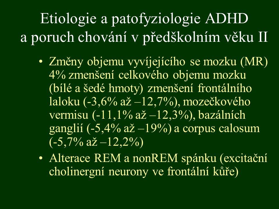 Etiologie a patofyziologie ADHD a poruch chování v předškolním věku II Změny objemu vyvíjejícího se mozku (MR) 4% zmenšení celkového objemu mozku (bíl