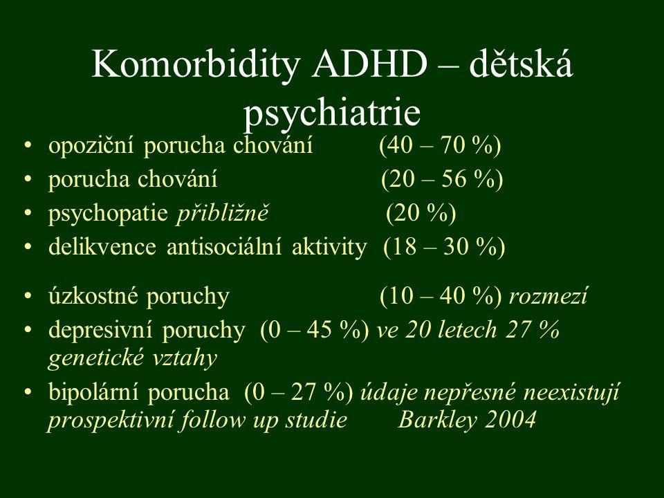 Komorbidity ADHD – dětská psychiatrie opoziční porucha chování (40 – 70 %) porucha chování (20 – 56 %) psychopatie přibližně (20 %) delikvence antisoc