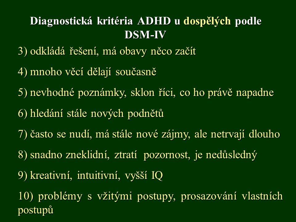 Diagnostická kritéria ADHD u dospělých podle DSM-IV 3) odkládá řešení, má obavy něco začít 4) mnoho věcí dělají současně 5) nevhodné poznámky, sklon ř