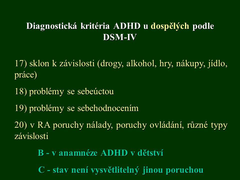 Diagnostická kritéria ADHD u dospělých podle DSM-IV 17) sklon k závislosti (drogy, alkohol, hry, nákupy, jídlo, práce) 18) problémy se sebeúctou 19) p
