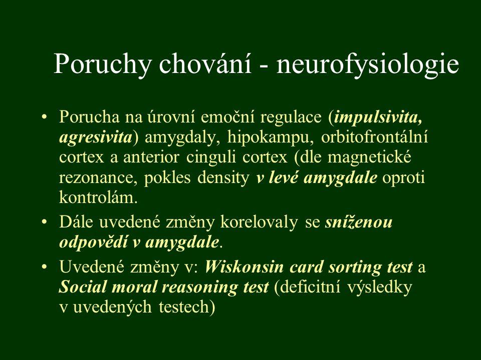 Poruchy chování - neurofysiologie Porucha na úrovní emoční regulace (impulsivita, agresivita) amygdaly, hipokampu, orbitofrontální cortex a anterior c