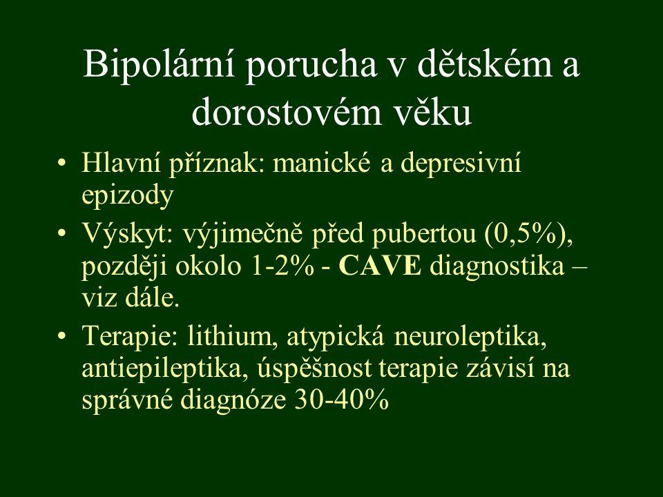 Bipolární porucha v dětském a dorostovém věku Hlavní příznak: manické a depresivní epizody Výskyt: výjimečně před pubertou (0,5%), později okolo 1-2%