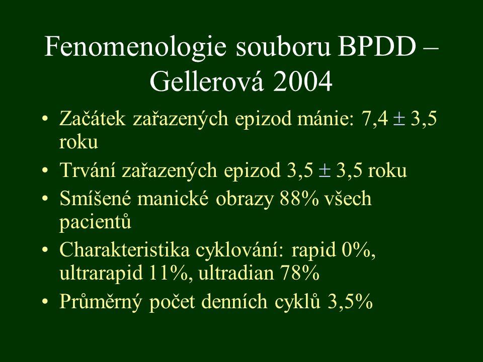 Fenomenologie souboru BPDD – Gellerová 2004 Začátek zařazených epizod mánie: 7,4  3,5 roku Trvání zařazených epizod 3,5  3,5 roku Smíšené manické ob