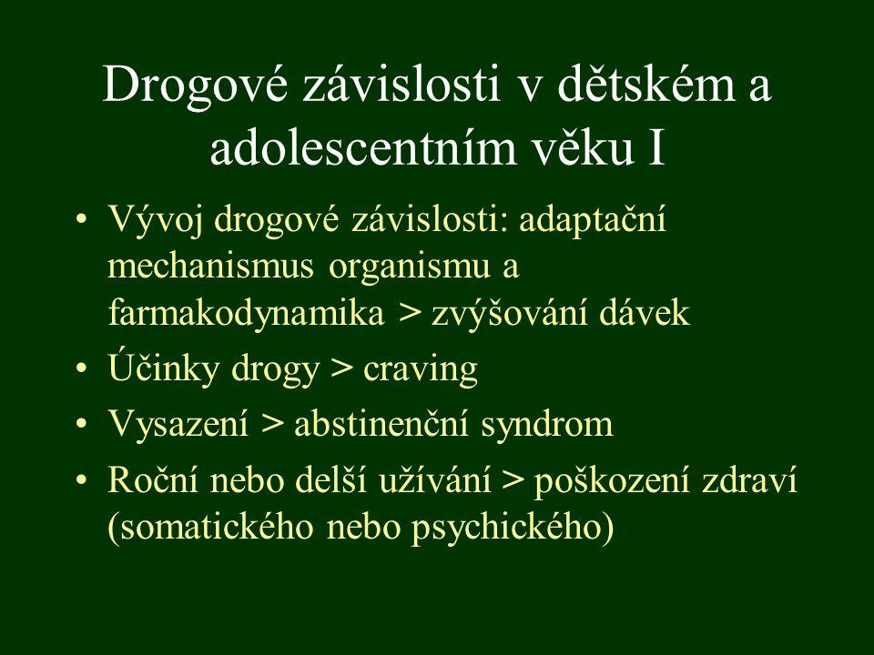 Drogové závislosti v dětském a adolescentním věku I Vývoj drogové závislosti: adaptační mechanismus organismu a farmakodynamika > zvýšování dávek Účin