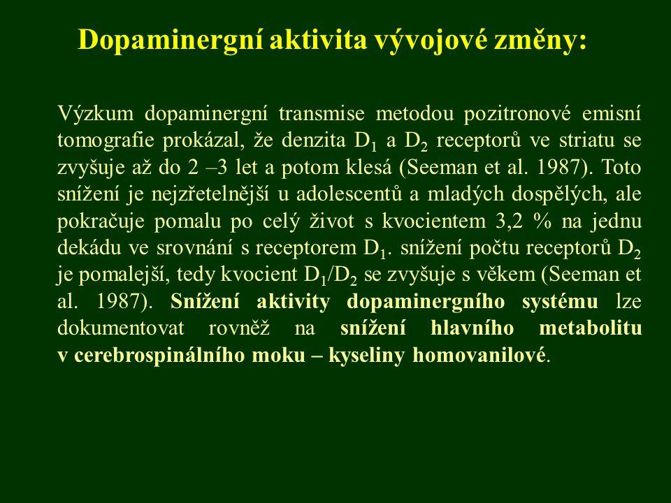 Dopaminergní aktivita vývojové změny: Výzkum dopaminergní transmise metodou pozitronové emisní tomografie prokázal, že denzita D 1 a D 2 receptorů ve