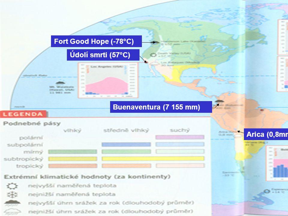 Buenaventura (7 155 mm) Arica (0,8mm) Fort Good Hope (-78°C) Údolí smrti (57°C)