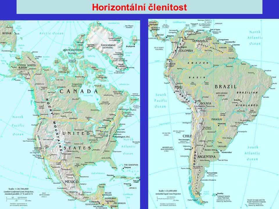 Amerika Rozloha: 42 500 000 km 2 Podíl rozlohy souše: 28% Počet obyvatel: 800 000 000 Nejvyšší hora: Aconcagua - 6 959 m (Argentina, Andy) Největší ostrov: Grónsko - 2 130 750 km 2 Počet států: 35