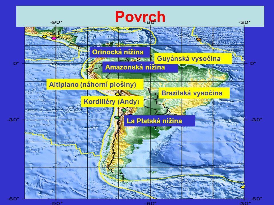 Povrch Kordilléry (Andy) Brazilská vysočina Amazonská nížina Orinocká nížina La Platská nížina Altiplano (náhorní plošiny) Guyánská vysočina