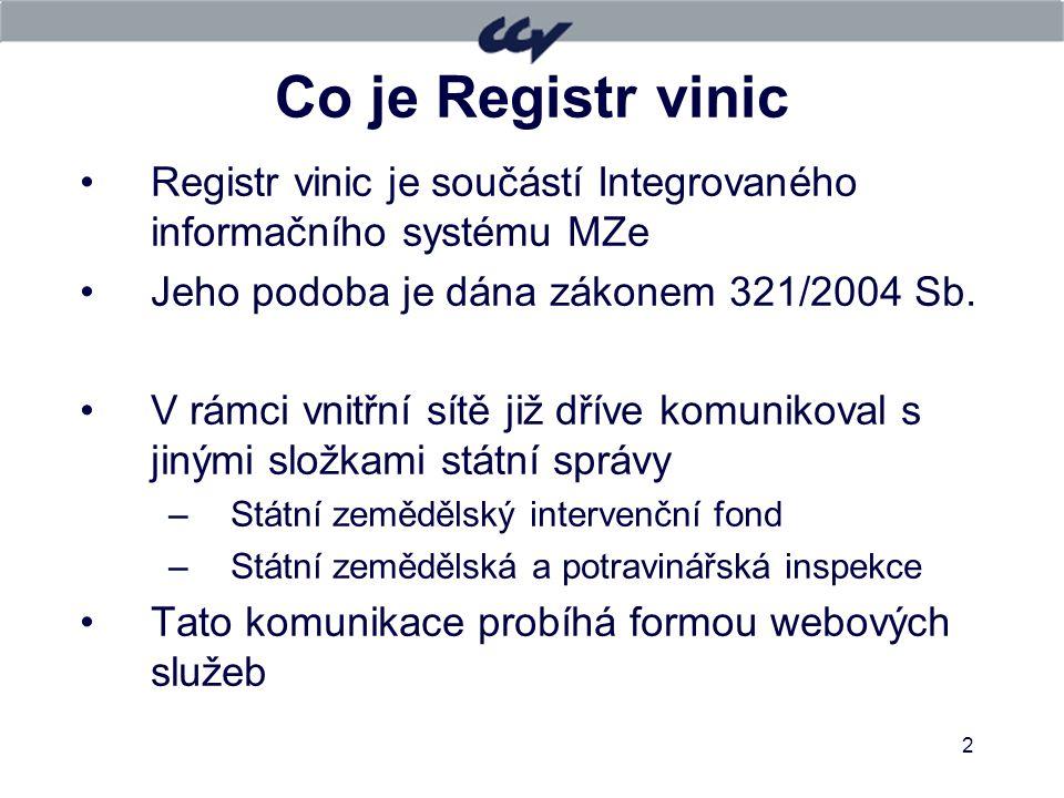 2 Co je Registr vinic Registr vinic je součástí Integrovaného informačního systému MZe Jeho podoba je dána zákonem 321/2004 Sb. V rámci vnitřní sítě j