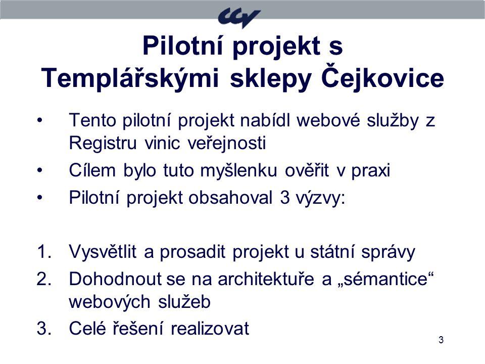 3 Pilotní projekt s Templářskými sklepy Čejkovice Tento pilotní projekt nabídl webové služby z Registru vinic veřejnosti Cílem bylo tuto myšlenku ověř