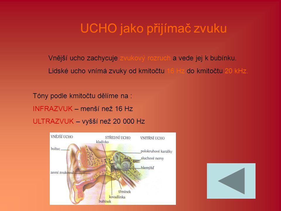 UCHO jako přijímač zvuku Vnější ucho zachycuje zvukový rozruch a vede jej k bubínku. Lidské ucho vnímá zvuky od kmitočtu 16 Hz do kmitočtu 20 kHz. Tón