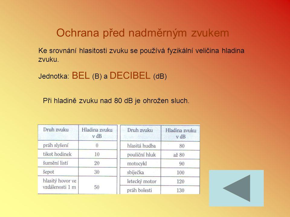 Ochrana před nadměrným zvukem Ke srovnání hlasitosti zvuku se používá fyzikální veličina hladina zvuku. Jednotka: BEL (B) a DECIBEL (dB) Při hladině z