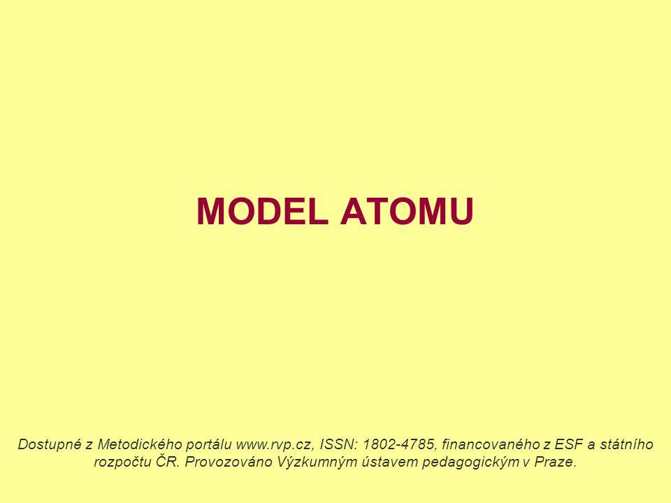MODEL ATOMU Dostupné z Metodického portálu www.rvp.cz, ISSN: 1802-4785, financovaného z ESF a státního rozpočtu ČR. Provozováno Výzkumným ústavem peda