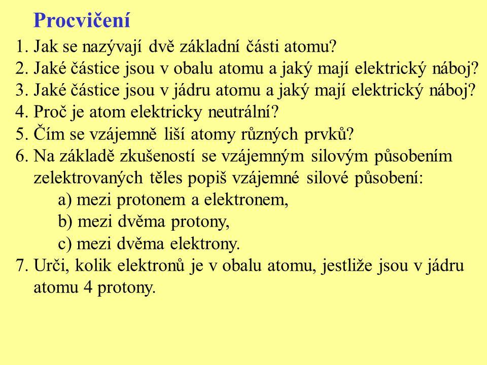Procvičení 1.Jak se nazývají dvě základní části atomu? 2. Jaké částice jsou v obalu atomu a jaký mají elektrický náboj? 3. Jaké částice jsou v jádru a