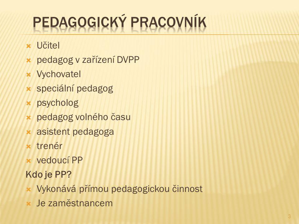  Učitel  pedagog v zařízení DVPP  Vychovatel  speciální pedagog  psycholog  pedagog volného času  asistent pedagoga  trenér  vedoucí PP Kdo j