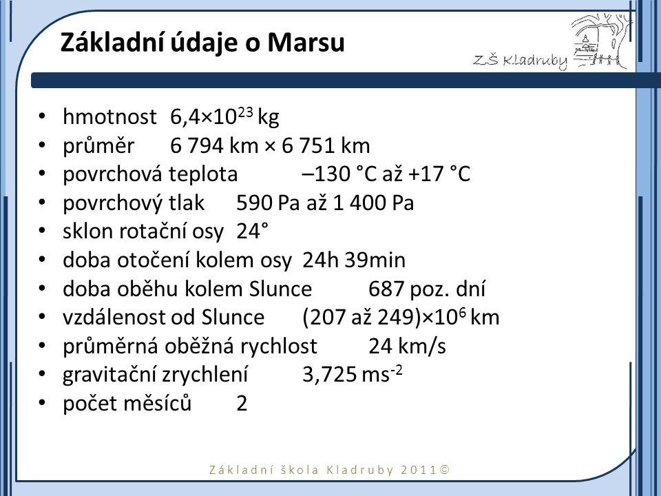 Základní škola Kladruby 2011  Základní údaje o Marsu hmotnost6,4×10 23 kg průměr6 794 km × 6 751 km povrchová teplota–130 °C až +17 °C povrchový tlak590 Pa až 1 400 Pa sklon rotační osy24° doba otočení kolem osy24h 39min doba oběhu kolem Slunce687 poz.