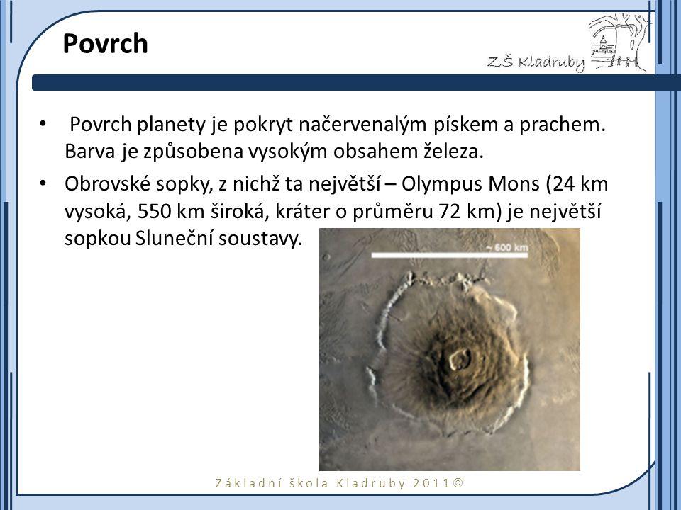 Základní škola Kladruby 2011  Povrch Povrch planety je pokryt načervenalým pískem a prachem. Barva je způsobena vysokým obsahem železa. Obrovské sopk